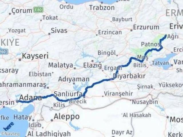 Adana Ağrı Arası Kaç Km - Kaç Saat? Arası Kaç Km Saat? Nerede Yol Haritası Yakıt, Rota ve Mesafe Hesaplama