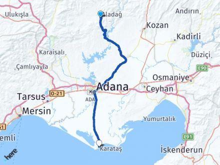 Adana Aladağ Karataş Arası Kaç Km? Arası Kaç Km Saat? Nerede Yol Haritası Yakıt, Rota ve Mesafe Hesaplama