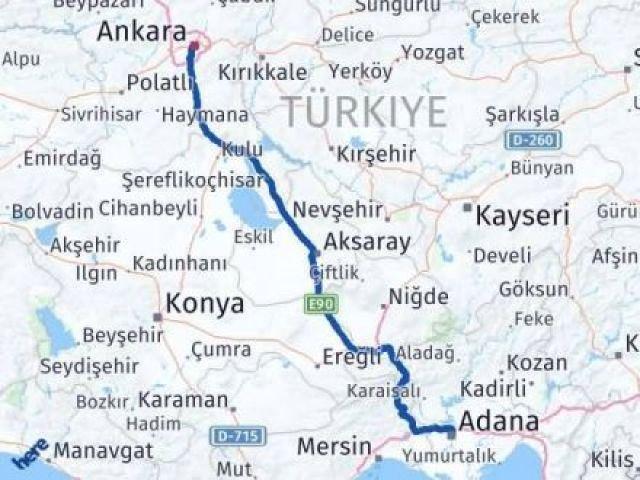 Adana Ankara Arası Kaç Km - Kaç Saat? Arası Kaç Km Saat? Nerede Yol Haritası Yakıt, Rota ve Mesafe Hesaplama