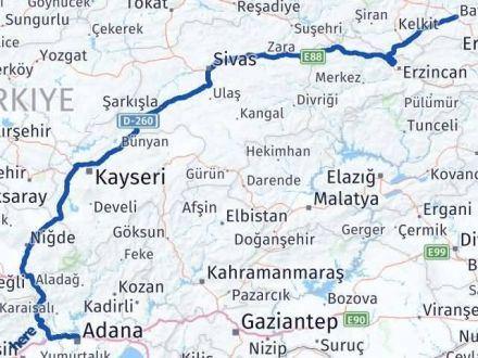 Adana Bayburt Arası Kaç Km - Kaç Saat? Arası Kaç Km Saat? Nerede Yol Haritası Yakıt, Rota ve Mesafe Hesaplama