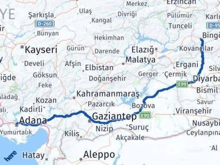 Adana Bingöl Arası Kaç Km - Kaç Saat? Arası Kaç Km Saat? Nerede Yol Haritası Yakıt, Rota ve Mesafe Hesaplama
