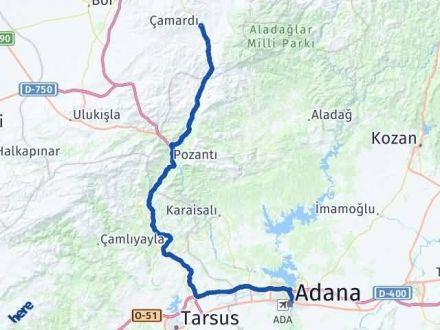 Adana Çamardı Arası Kaç Km? Arası Kaç Km Saat? Nerede Yol Haritası Yakıt, Rota ve Mesafe Hesaplama