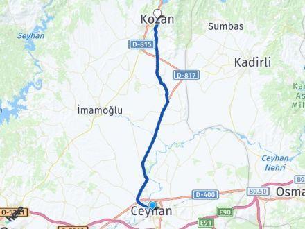 Adana Ceyhan Kozan Arası Kaç Km? Kaç Saat? - Km hesaplama Arası Kaç Km Saat? Nerede Yol Haritası Yakıt, Rota ve Mesafe Hesaplama