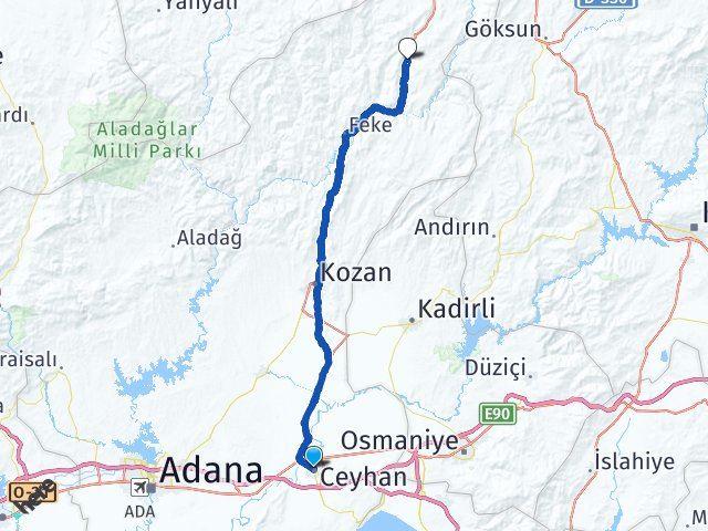 Adana Ceyhan Saimbeyli Arası Kaç Km? Arası Kaç Km Saat? Nerede Yol Haritası Yakıt, Rota ve Mesafe Hesaplama