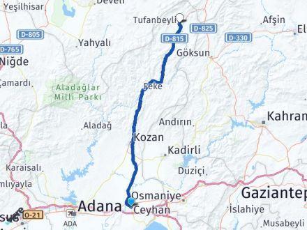 Adana Ceyhan Tufanbeyli Arası Kaç Km? Arası Kaç Km Saat? Nerede Yol Haritası Yakıt, Rota ve Mesafe Hesaplama