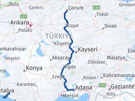Adana Çorum Arası Kaç Km - Kaç Saat? Arası Kaç Km Saat? Nerede Yol Haritası Yakıt, Rota ve Mesafe Hesaplama