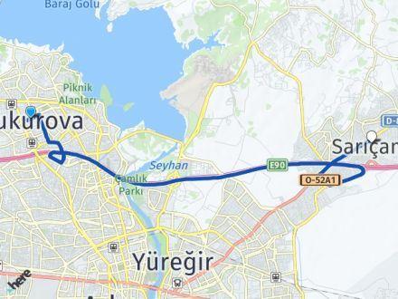 Adana Çukurova Sarıçam Arası Kaç Km? Arası Kaç Km Saat? Nerede Yol Haritası Yakıt, Rota ve Mesafe Hesaplama