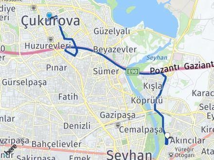 Adana Çukurova Yüreğir Arası Kaç Km? Arası Kaç Km Saat? Nerede Yol Haritası Yakıt, Rota ve Mesafe Hesaplama