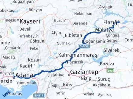 Adana Elazığ Arası Kaç Km - Kaç Saat? Arası Kaç Km Saat? Nerede Yol Haritası Yakıt, Rota ve Mesafe Hesaplama