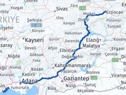 Adana Erzincan Arası Kaç Km - Kaç Saat? Arası Kaç Km Saat? Nerede Yol Haritası Yakıt, Rota ve Mesafe Hesaplama