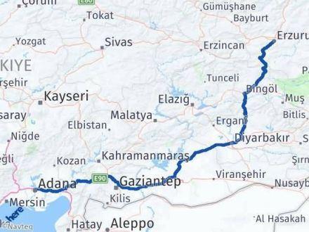 Adana Erzurum Arası Kaç Km - Kaç Saat? Arası Kaç Km Saat? Nerede Yol Haritası Yakıt, Rota ve Mesafe Hesaplama