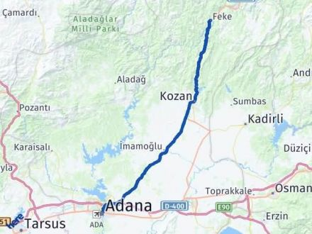 Adana Feke Arası Kaç Km Arası Kaç Km Saat? Nerede Yol Haritası Yakıt, Rota ve Mesafe Hesaplama