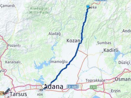 Adana Feke Yüreğir Arası Kaç Km? Arası Kaç Km Saat? Nerede Yol Haritası Yakıt, Rota ve Mesafe Hesaplama