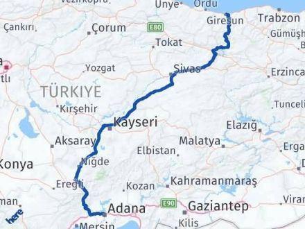 Adana Giresun Arası Kaç Km - Kaç Saat? Arası Kaç Km Saat? Nerede Yol Haritası Yakıt, Rota ve Mesafe Hesaplama