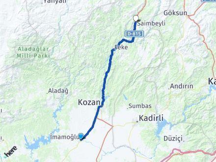 Adana İmamoğlu Saimbeyli Arası Kaç Km? Arası Kaç Km Saat? Nerede Yol Haritası Yakıt, Rota ve Mesafe Hesaplama