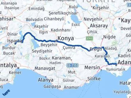 Adana Isparta Arası Kaç Km - Kaç Saat? Arası Kaç Km Saat? Nerede Yol Haritası Yakıt, Rota ve Mesafe Hesaplama