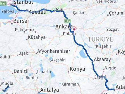 Adana İstanbul Arası Kaç Km - Kaç Saat? Arası Kaç Km Saat? Nerede Yol Haritası Yakıt, Rota ve Mesafe Hesaplama