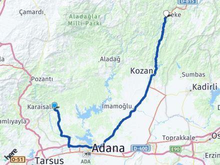 Adana Karaisalı Feke Arası Kaç Km? Arası Kaç Km Saat? Nerede Yol Haritası Yakıt, Rota ve Mesafe Hesaplama