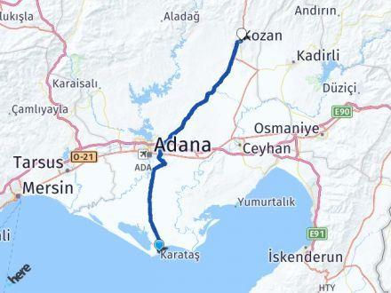 Adana Karataş Kozan Arası Kaç Km? Arası Kaç Km Saat? Nerede Yol Haritası Yakıt, Rota ve Mesafe Hesaplama