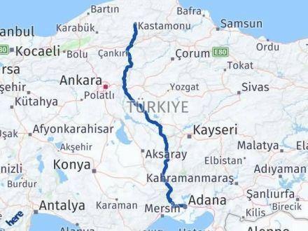 Adana Kastamonu Arası Kaç Km - Kaç Saat? Arası Kaç Km Saat? Nerede Yol Haritası Yakıt, Rota ve Mesafe Hesaplama