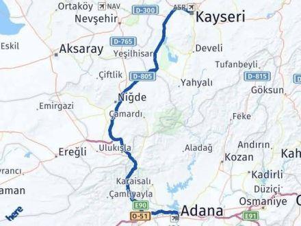 Adana Kayseri Arası Kaç Km - Kaç Saat? Arası Kaç Km Saat? Nerede Yol Haritası Yakıt, Rota ve Mesafe Hesaplama