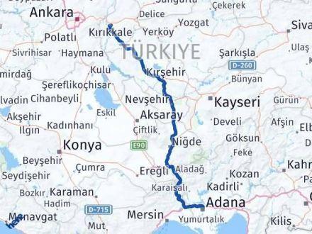 Adana Kırıkkale Arası Kaç Km - Kaç Saat? Arası Kaç Km Saat? Nerede Yol Haritası Yakıt, Rota ve Mesafe Hesaplama