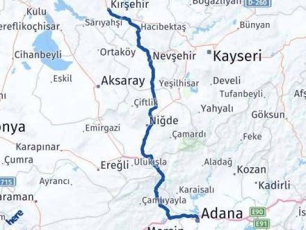 Adana Kırşehir Arası Kaç Km - Kaç Saat? Arası Kaç Km Saat? Nerede Yol Haritası Yakıt, Rota ve Mesafe Hesaplama