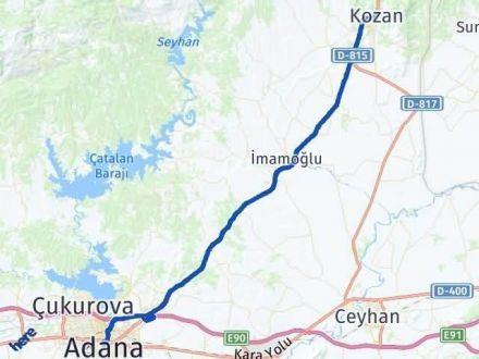 Adana Kozan Arası Kaç Km Arası Kaç Km Saat? Nerede Yol Haritası Yakıt, Rota ve Mesafe Hesaplama