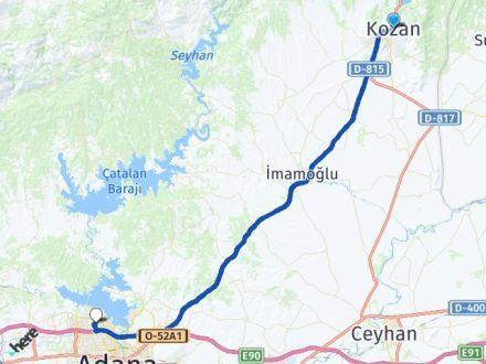 Adana Kozan Çukurova Arası Kaç Km? Arası Kaç Km Saat? Nerede Yol Haritası Yakıt, Rota ve Mesafe Hesaplama