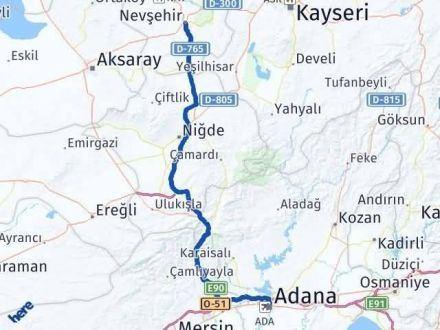 Adana Nevşehir Arası Kaç Km - Kaç Saat? Arası Kaç Km Saat? Nerede Yol Haritası Yakıt, Rota ve Mesafe Hesaplama