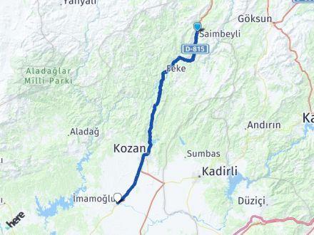 Adana Saimbeyli İmamoğlu Arası Kaç Km? Arası Kaç Km Saat? Nerede Yol Haritası Yakıt, Rota ve Mesafe Hesaplama