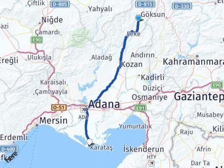 Adana Saimbeyli Karataş Arası Kaç Km? Arası Kaç Km Saat? Nerede Yol Haritası Yakıt, Rota ve Mesafe Hesaplama
