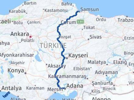 Adana Samsun Arası Kaç Km - Kaç Saat? Arası Kaç Km Saat? Nerede Yol Haritası Yakıt, Rota ve Mesafe Hesaplama