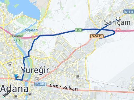 Adana Seyhan Sarıçam Arası Kaç Km? Arası Kaç Km Saat? Nerede Yol Haritası Yakıt, Rota ve Mesafe Hesaplama