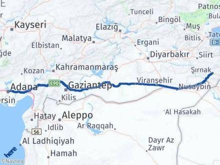 Adana Şırnak Arası Kaç Km - Kaç Saat? Arası Kaç Km Saat? Nerede Yol Haritası Yakıt, Rota ve Mesafe Hesaplama
