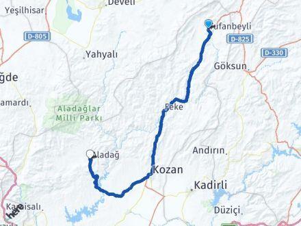 Adana Tufanbeyli Aladağ Arası Kaç Km? Arası Kaç Km Saat? Nerede Yol Haritası Yakıt, Rota ve Mesafe Hesaplama