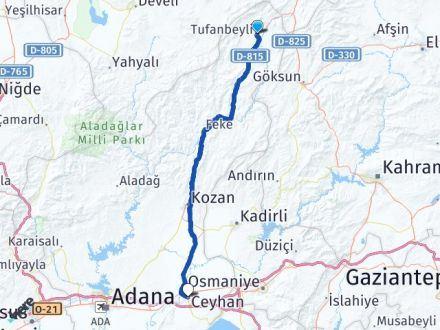 Adana Tufanbeyli Ceyhan Arası Kaç Km? Arası Kaç Km Saat? Nerede Yol Haritası Yakıt, Rota ve Mesafe Hesaplama