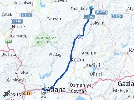 Adana Tufanbeyli Çukurova Arası Kaç Km? Arası Kaç Km Saat? Nerede Yol Haritası Yakıt, Rota ve Mesafe Hesaplama