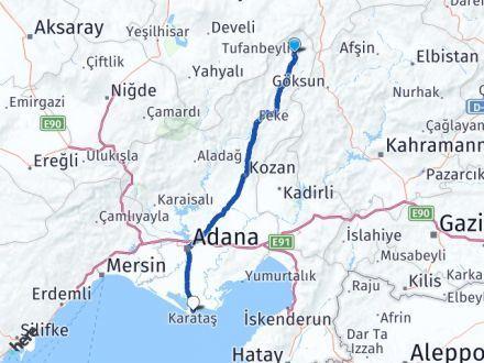 Adana Tufanbeyli Karataş Arası Kaç Km? Arası Kaç Km Saat? Nerede Yol Haritası Yakıt, Rota ve Mesafe Hesaplama