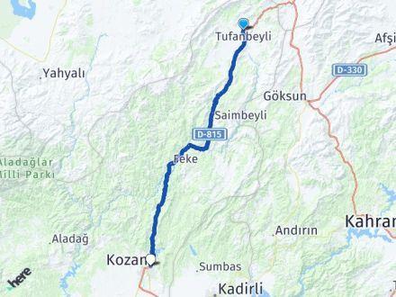 Adana Tufanbeyli Kozan Arası Kaç Km? Arası Kaç Km Saat? Nerede Yol Haritası Yakıt, Rota ve Mesafe Hesaplama
