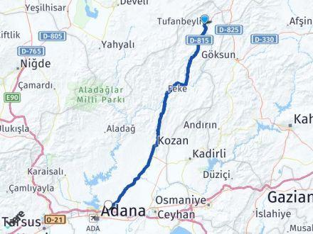 Adana Tufanbeyli Sarıçam Arası Kaç Km? Arası Kaç Km Saat? Nerede Yol Haritası Yakıt, Rota ve Mesafe Hesaplama