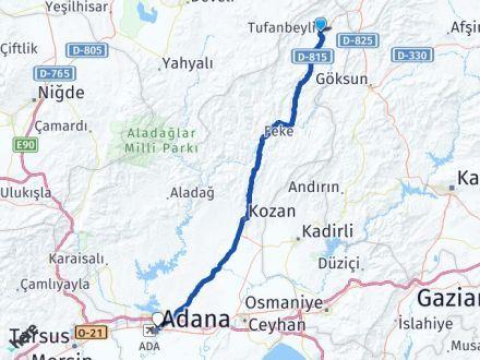 Adana Tufanbeyli Yüreğir Arası Kaç Km? Arası Kaç Km Saat? Nerede Yol Haritası Yakıt, Rota ve Mesafe Hesaplama