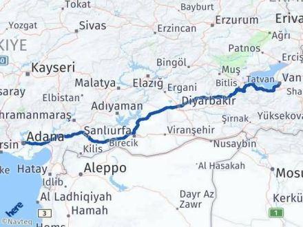 Adana Van Arası Kaç Km - Kaç Saat? Arası Kaç Km Saat? Nerede Yol Haritası Yakıt, Rota ve Mesafe Hesaplama