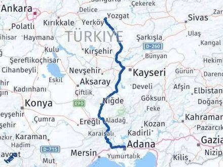 Adana Yozgat Arası Kaç Km - Kaç Saat? Arası Kaç Km Saat? Nerede Yol Haritası Yakıt, Rota ve Mesafe Hesaplama