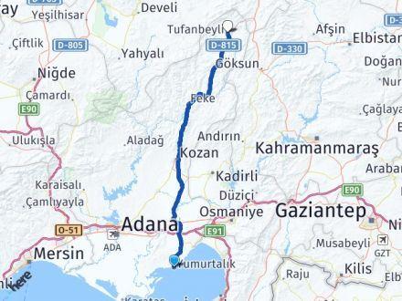 Adana Yumurtalık Tufanbeyli Arası Kaç Km? Arası Kaç Km Saat? Nerede Yol Haritası Yakıt, Rota ve Mesafe Hesaplama