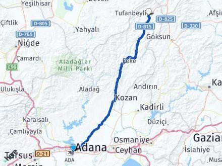 Adana Yüreğir Tufanbeyli Arası Kaç Km? Arası Kaç Km Saat? Nerede Yol Haritası Yakıt, Rota ve Mesafe Hesaplama