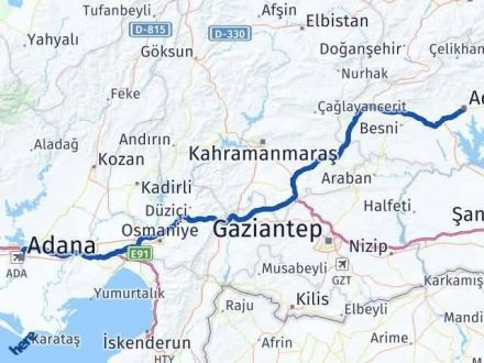 Adıyaman Adana Arası Kaç Km - Kaç Saat? Arası Kaç Km Saat? Nerede Yol Haritası Yakıt, Rota ve Mesafe Hesaplama