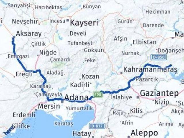 Adıyaman Aksaray Arası Kaç Km - Kaç Saat? Arası Kaç Km Saat? Nerede Yol Haritası Yakıt, Rota ve Mesafe Hesaplama