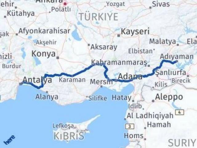 Adıyaman Antalya Arası Kaç Km - Kaç Saat? Arası Kaç Km Saat? Nerede Yol Haritası Yakıt, Rota ve Mesafe Hesaplama