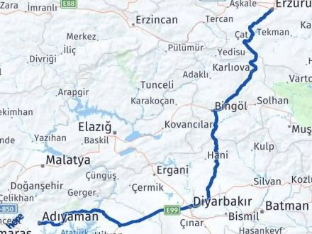Adıyaman Erzurum Arası Kaç Km - Kaç Saat? Arası Kaç Km Saat? Nerede Yol Haritası Yakıt, Rota ve Mesafe Hesaplama